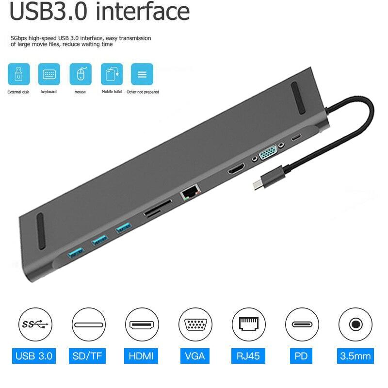 11 In 1 HUB 4K USB Type-C To USB 3.0 TF HDMI VGA RJ45 Mini DP Docking Station For Macbook