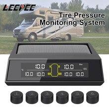 جهاز استشعار خارجي لمراقبة ضغط الإطارات ، يعمل بالطاقة الشمسية ، للسيارات ، 6 قطعة/المجموعة مجموعة ، شاشة LCD ملونة