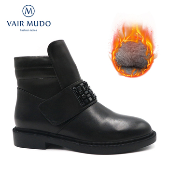VAIR MUDO Ankle Boots Shoes Women Snow Boot Autumn Winter Genuine Leather Low Heel warm Wool Black Brown Round-Toe Elegant  D119 haraval luxury women winter ankle boots high quality retro round toe square low heel shoes warm black elegant zipper boots b199