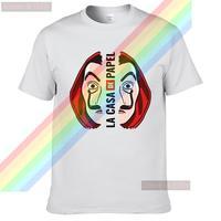 LA CASA DE máscara DE PAPEL Sticker verano impresión T camisa ropa Popular Camisa DE algodón camisetas increíble manga corta hecho Tops Unisex