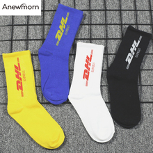 Anewmorn Man's Personality Letter DHL Cotton Roll Down Crew Socks Male Fashion S