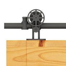 DIYHD Black Round Sliding Rail Top Mount Spoke Wheel Sliding Barn Door Hardware