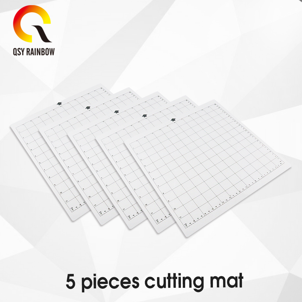 5pcs Replacement Cutting Mat Transparent Adhesive Mat With Measuring Grid 12 By 12-Inch For Silhouette Cameo Plotter Machine