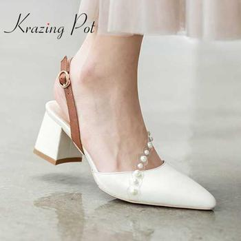 Krazing pot 2020 new summer genuine leather pointe toe high thick heels pearl beauty lady buckle straps princess style pumps L52