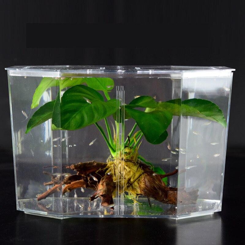 Two Splits Fish Bowl Acrylic Guppy Fish Tank Aquarium Betta Transparent Aquarium Hatchery Breeding Isolation Box High Quality