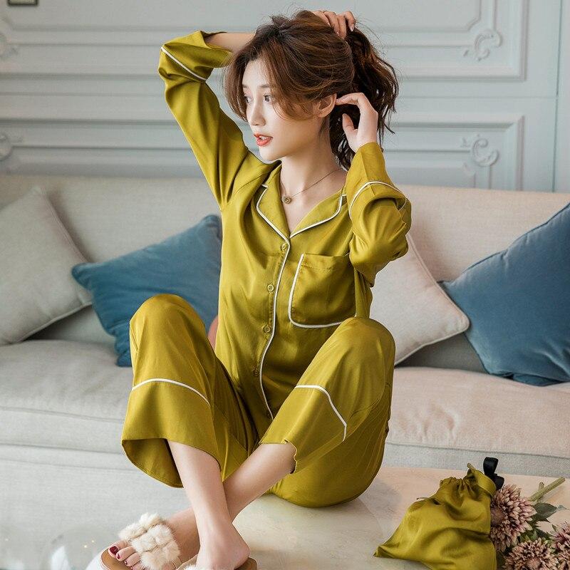 Pyjamas en soie à manches longues printemps automne hiver femmes Pyjamas ensembles soie Pijama Mujer Pyjamas costume lâche Homewear