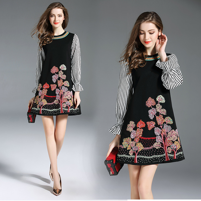 6327 Photo Shoot #2018 Autumn Clothing WOMEN'S Dress New Style Stripes Bell Sleeve Joint Embroidery A- Line Skirt Dress