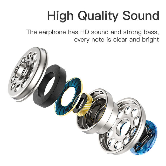 KUULAA Earphones with Microphone Wired Earbuds in Ear Deep Bass 3.5mm Jack for iPhone 6 5 Xiaomi Samsung Huawei Fone De ouvido 2