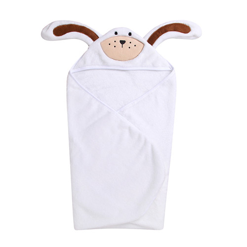 Детский халат с героями мультфильмов фланелевый Халат для малышей детский купальный Халат с капюшоном и длинными рукавами милые халаты для девочек и мальчиков с животными детская одежда - Цвет: White