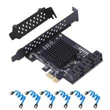 6/4 Porta SATA III PCIe Card, PCIe SATA III Scheda di Controllo A 6 GB/s Adattatore Interno Convertitore PCI SATA 3.0 Scheda di Espansione Riser