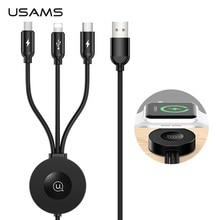 USAMS Qi Беспроводное зарядное устройство для Apple Watch Series 5 4 3 2 1 4 в 1 usb кабель для зарядки и передачи данных для iPhone usb type C Micro USB кабель