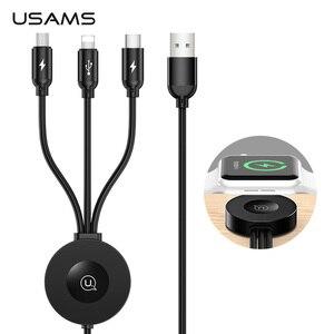 Image 1 - USAMS Qi Draadloze Oplader voor Apple Horloge Serie 5 4 3 2 1 4 in 1 USB Opladen Data Kabel voor iPhone USB Type C Micro Usb kabel