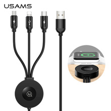 USAMS Qi Wireless Charger for Apple Watch Series 5 4 3 2 1 4 in 1 USB Charging Data Cable For iPhone USB Type C Micro USB Cable