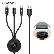 USAMS Qi inalámbrico cargador para Apple Watch serie 5 4 3 2 1 4 en 1 Cable de datos de carga USB para iPhone USB tipo C Cable USB a Micro USB