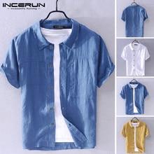 2021 Men Shirt Turn-down Collar Solid Casual Streetwear Button Short Sleeve Harajuku