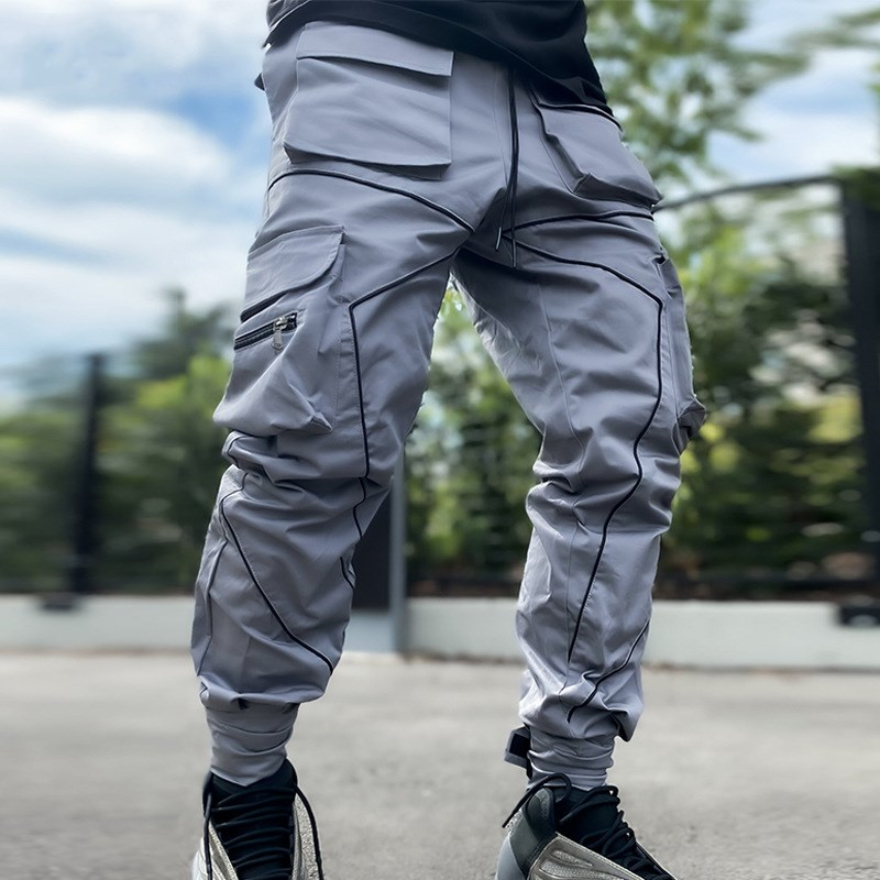 Multi-pocket Pants Joggers Sweatpant Hip Hop Men Color Block Black Casual Trousers high quality