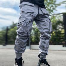 マルチポケットパンツジョギングsweatpantヒップホップ男性色ブロック黒のカジュアルなズボン高品質