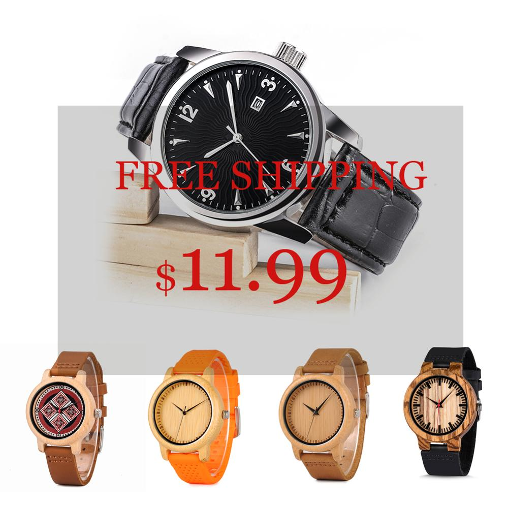 Wood Watch Man Ladies BOBO BIRD Classic Wood Wristwatches Leather Quartz Atch In Sales Deal  Random Delivery