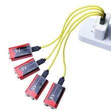 4pc 9 V 500mAh 리튬 이온 충전식 배터리 마이크로 USB 배터리 9 v 리튬 멀티 미터 마이크 장난감 원격 제어 KTV 사용