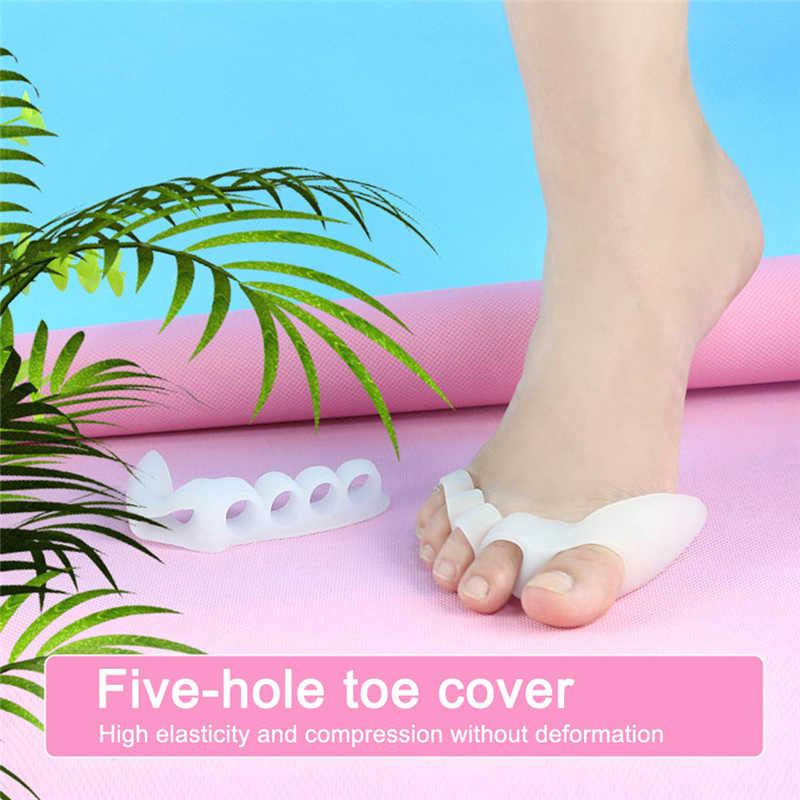 Ala suave de cinco agujeros Hallux Valgus alisador de dedos de silicona ortodoncia cubierta del dedo del pie herramienta de cuidado del pie divisor ortopédico plantilla