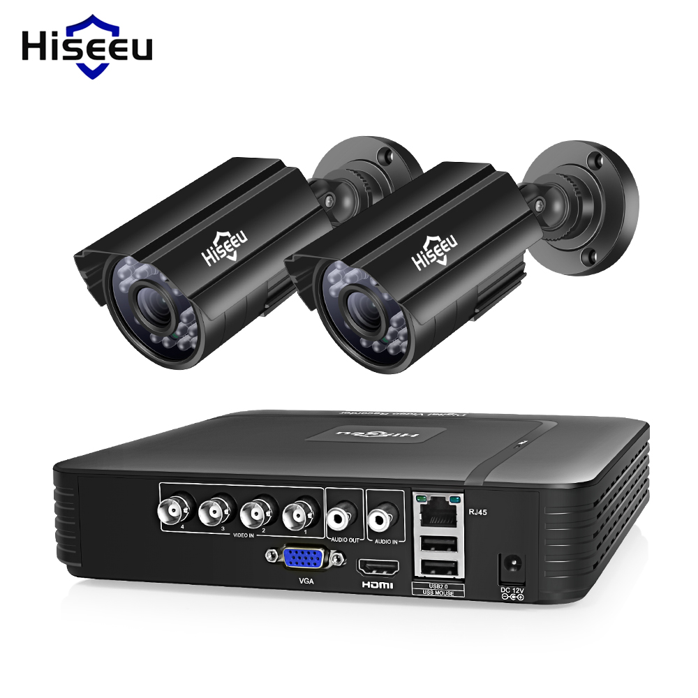 Hiseeu HD 4CH 1080N 5in1 AHD DVR Kit CCTV System 2pcs 720P/1080P AHD Waterproof/bullet Camera 2MP P2P Security Surveillance Set