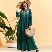 Siskakia aラインエスニック幾何学的な花刺繍ルーズプラスサイズ中東イスラム教徒の女性のマキシドレスラマダン 2020