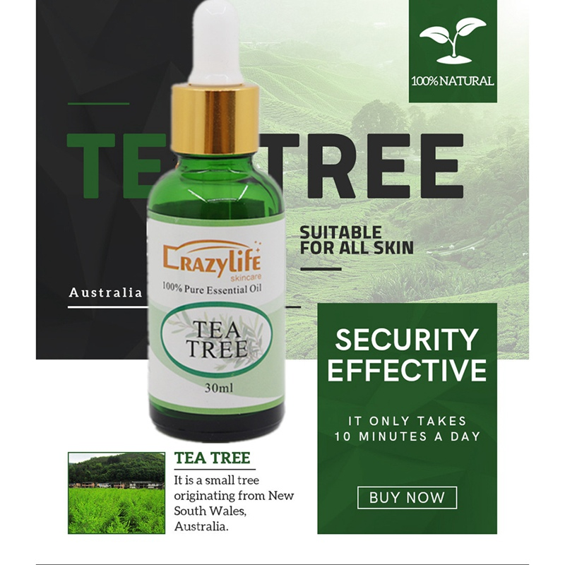 30ML Tea Tree Essence Oil Firming Skin Smooth Fine Lines Brighten Skin Color Face Serum Body Care Essential Oils Wholesale