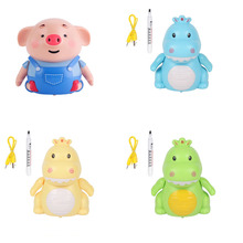New Mini Pig Robot Inductive Line Drawing Toys with Light Music Education Toy Pen +USB Charging Cable Dropshipping