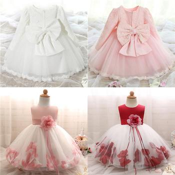 Białe sukienki z długimi rękawami dla dziewczynki chrzest ubranie dla dziewczynki 1 rok urodziny maluch suknia do chrztu sukienka dla niemowląt tanie i dobre opinie Aini Babe W wieku 0-6m 7-12m 13-24m Stałe CN (pochodzenie) Kobiet Pełna REGULAR Europejskich i amerykańskich style Łuk