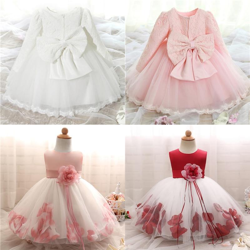 Белые платья с длинным рукавом для девочек, одежда для крещения для девочек 1 год, вечерние платья на день рождения, Крещение, платье для мале...