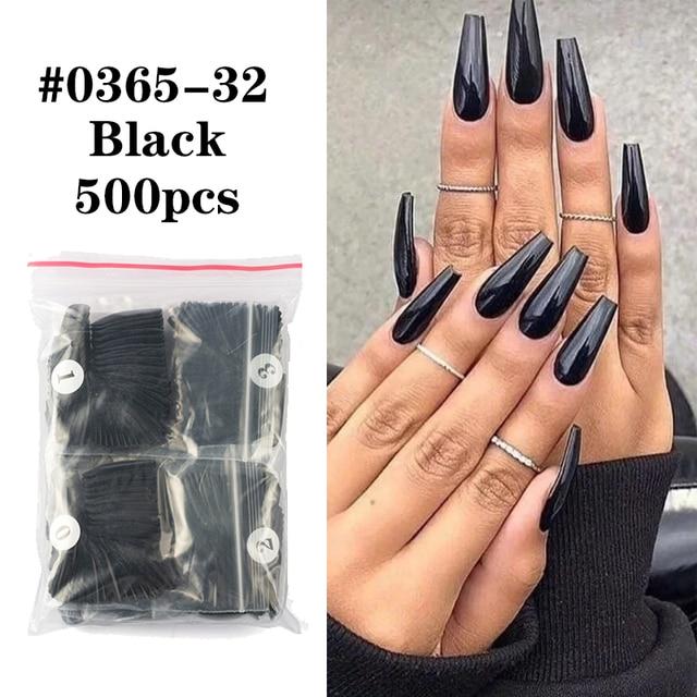 Фото 500 шт цвет фул накладные ногти длинные балерина форма гроба цена