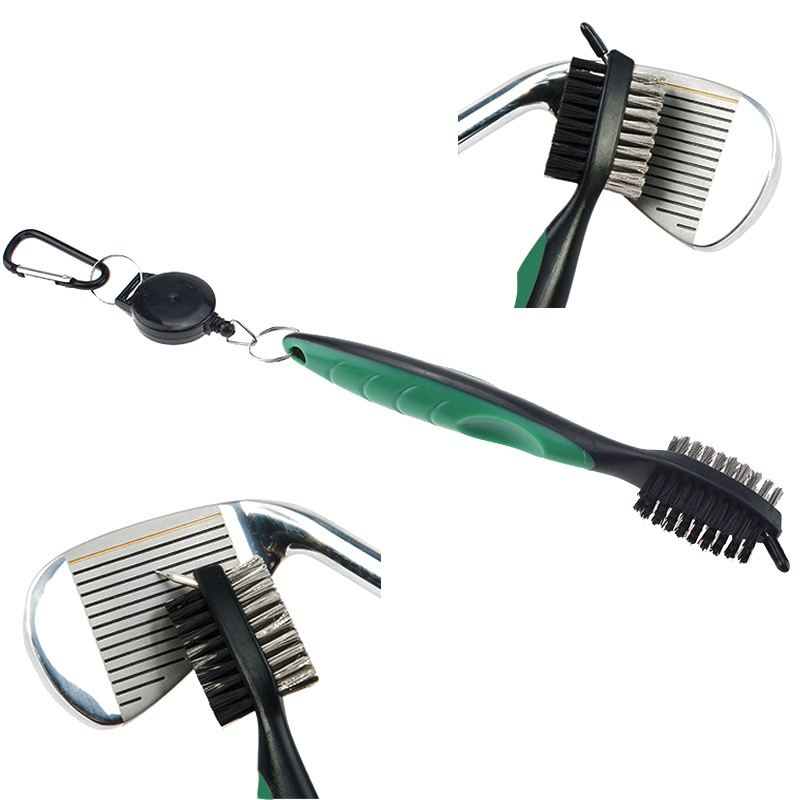 2019 Hot Sale Golf Club Cleaner Double Side Steel Nylon Brush Portable Grooves Cleaning Tool Hook Clean Teethbrush Tools Newest