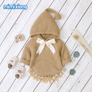 Image 3 - Hot Sale Baby Knitted Bow Hooded Sweater Tops New Spring Autumn Crochet Toddler Kids Clothes Sweater