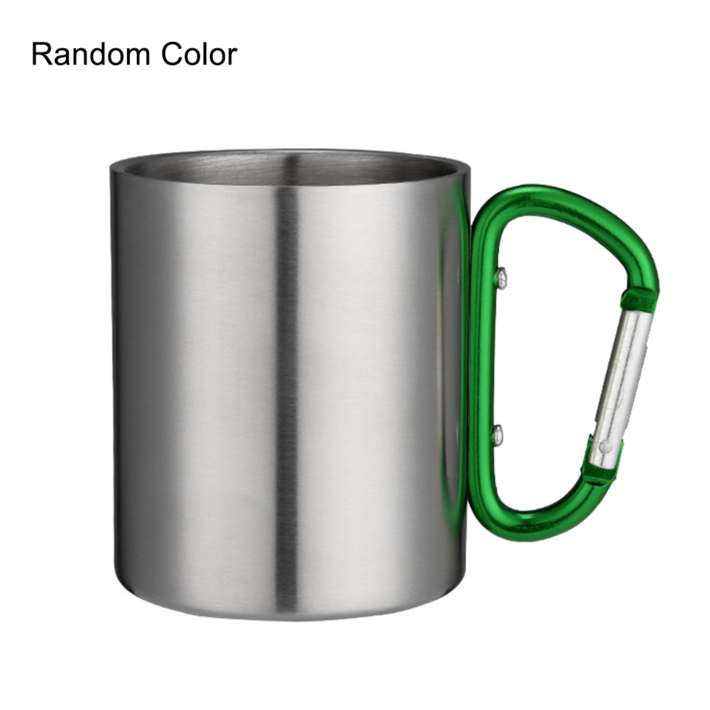 220-400ml Stainless Steel Cup Camping Hiking Climbing Travel Outdoor Cup Double Wall Mug with Carabiner Hook Handle High Quality
