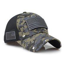Gorra de béisbol de camuflaje para hombre, gorro de malla bordado con parche de la bandera americana para el día de la independencia