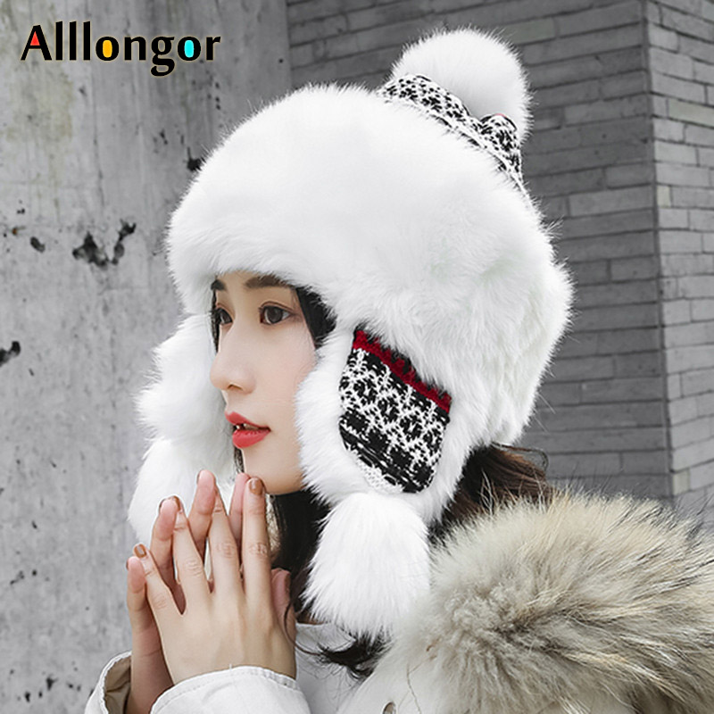 New 2019 Winter Thick Warm Princess Hat Women Knitted Hat Pompom Faux Rabbit Fur Beanie Caps Russian Ushank  Earflaps Snow Hat