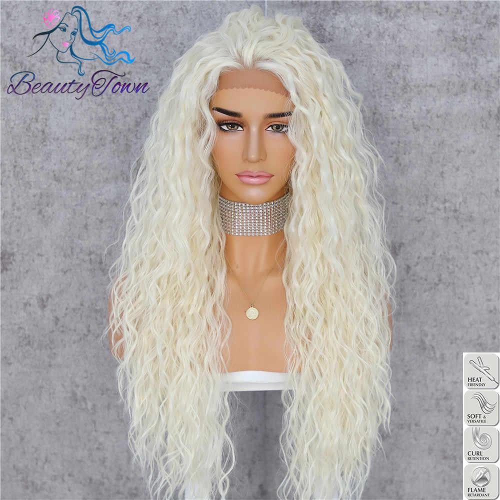 Beautytown kinky curly futura resistente ao calor loira 613 cabelo feminino diário maquiagem cosplay festa de casamento peruca dianteira do laço sintético