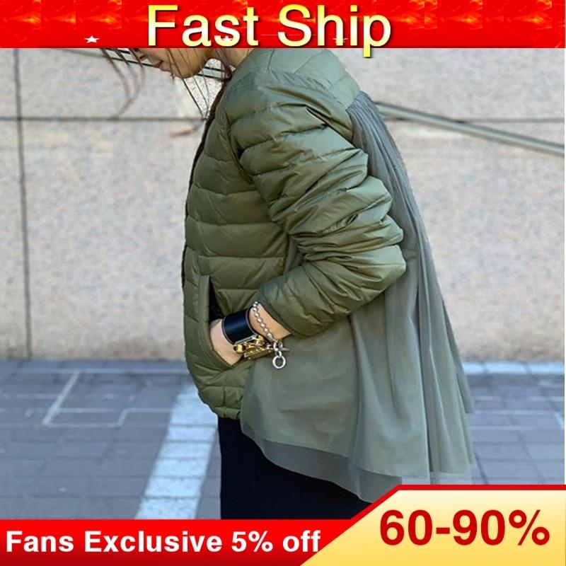Cotton Padded Jacket Women Designer Fashion Army Green Korean OL Mesh Patchwork Slim Parkas Spring Winter Coat Outwear Overcoat