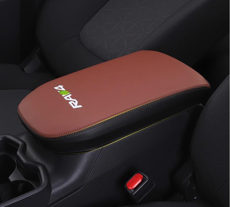 Cubierta de reposabrazos Central de coche de fibra de carbono o cuero negro para Toyota RAV4 RAV-4 XA50 2019 2020 accesorios de coche