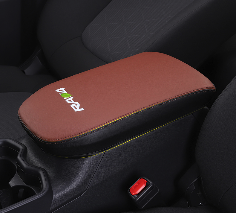Super fiber Carbon Or Black Leather Car Central Armrest Cover For Toyota RAV4 RAV-4 XA50 2019 2020 Car accessories