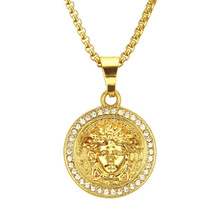 Occident Jewelry Fashion Trend Crystal Medusa Necklace Golden Head Hip Hop Pendant Necklace