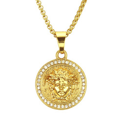 Occident jóias moda tendência cristal medusa colar cabeça de ouro hip hop pingente colar