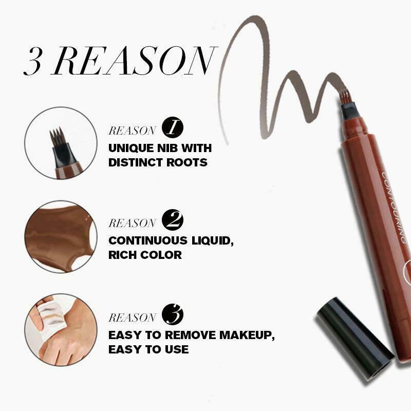 Newly 4 Points Eyebrown Pen Waterproof Fork Tip Long Last Sweat-proof Eyebrow Pen Pencil CTN88