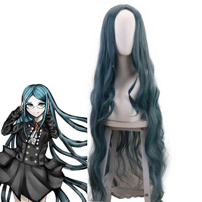 Takerlam Danganronpa 3 Shirogane Tsumugi Coser peruka długie niebieskie włosy Cosplay kostium na Halloween rekwizyty + darmowe czepek do włosów