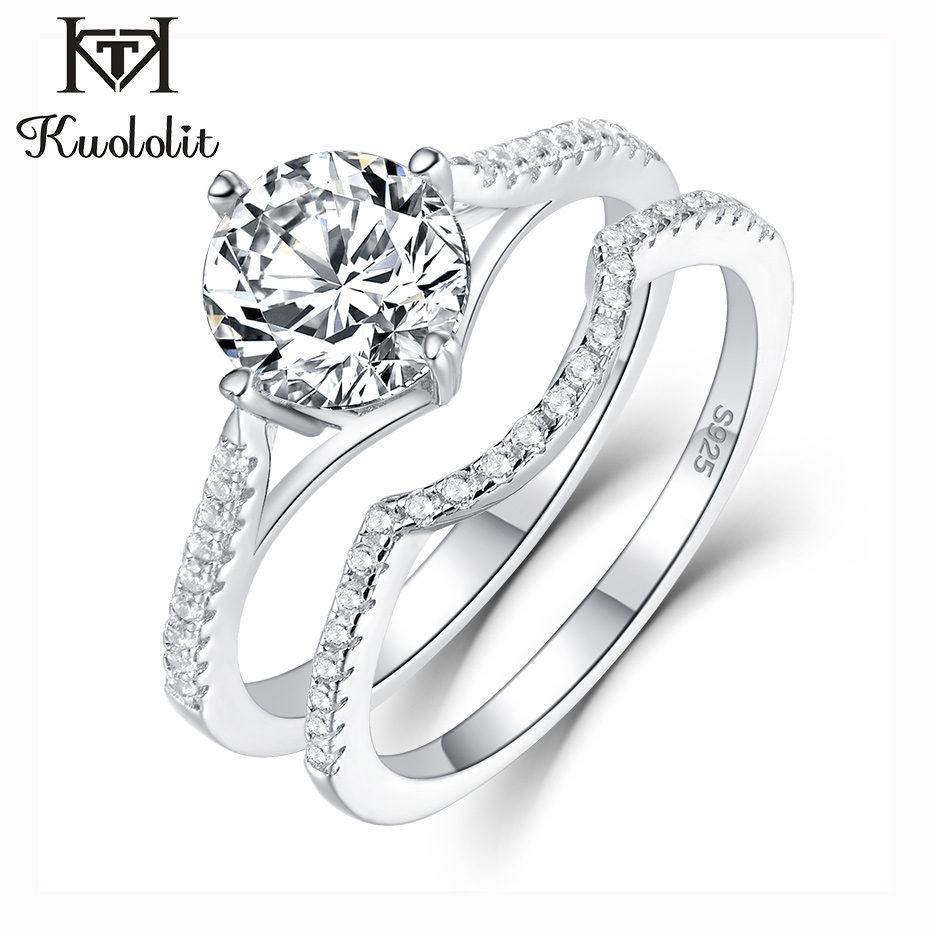 Kuololit Sona Diamonds Ring For Women 925 Sterling Silver Ring Engagement Wedding Band Bridal Vintage Stacking Ring Fine Jewelry