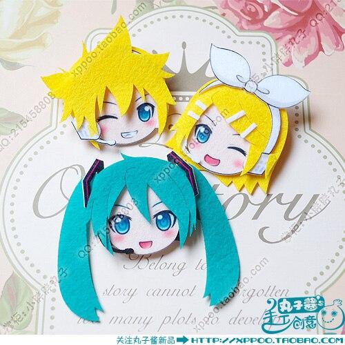 Cute Anime Hatsune Miku Kagamine Rin Len Cosplay Badge Nonwoven Fabric Button Brooch Pin Bedge Gifts