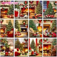 Gatyztory Рождественская елка нефти набор для рисования по номерам