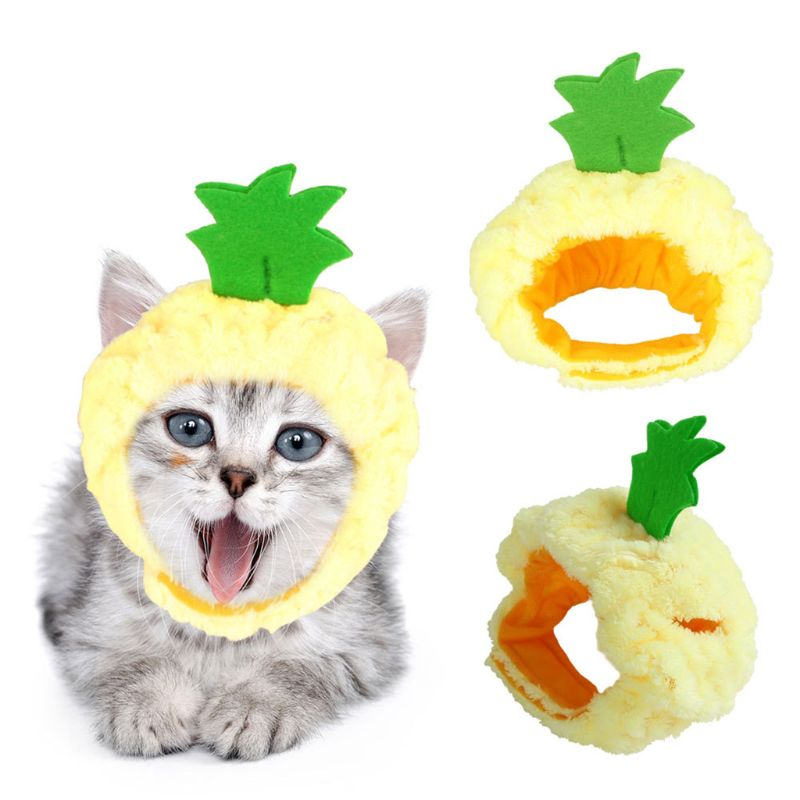 Funny Pineapple Shaped Cat Hat Dog Halloween Headwear Fleece Neck Ear Warmer Pet Costume Party Dress Up Cosplay Accessories
