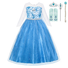 Elsa Princess Children Dress Diamond Mesh Birthday Halloween Party Dress Up Gown For Kids Long Sleeve Costume Girls With Cloak(China)