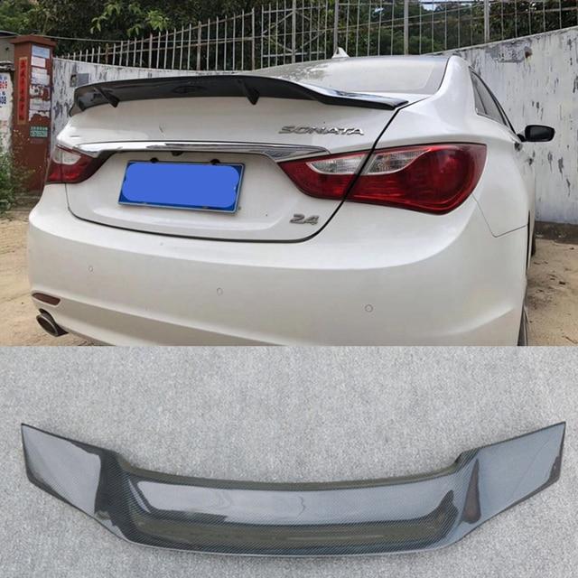 Pour Hyundai Sonata Spoiler 2010 2014 fibre de carbone lèvre arrière aileron haute qualité couleur spoiler Sonata 8 aile arrière pièces dauto